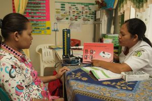 Midwife Rosina Susianawati provdes anaemia counselling to a patient